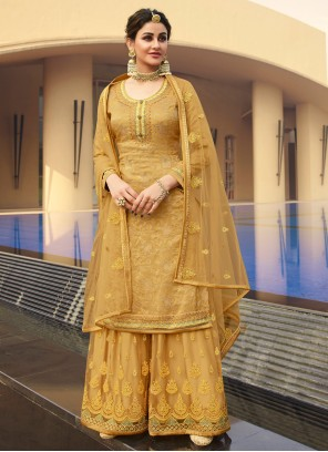 Gold Jacquard Silk Festival Designer Palazzo Suit