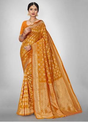 Gold Jacquard Silk Weaving Ceremonial Saree