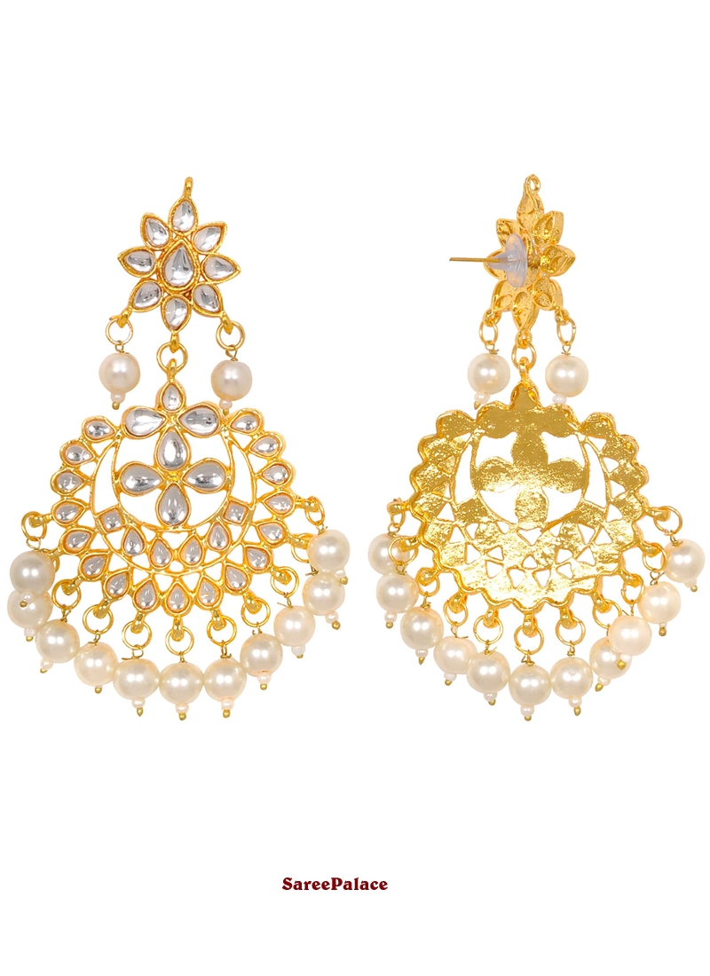 Gold Moti Sangeet Ear Rings