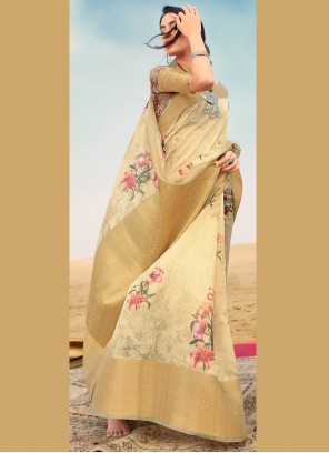 Cream Party Linen Contemporary Saree