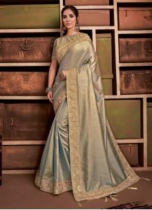 Gold Party Silk Contemporary Saree