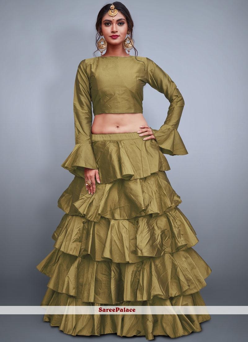 Gold Plain Mehndi Readymade Lehenga Choli