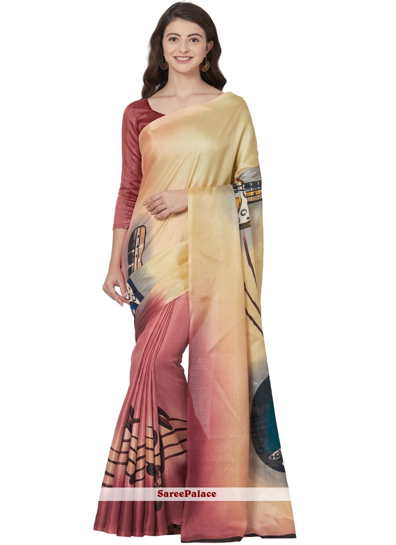 Gold Printed Casual Saree
