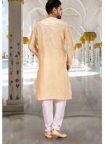 Gold Sangeet Art Dupion Silk Kurta Pyjama