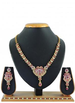 Gold Stone Engagement Necklace Set