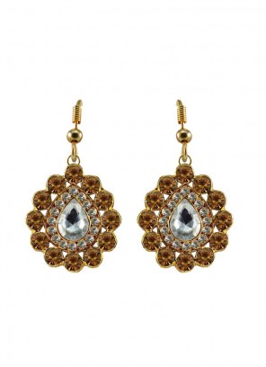 Gold Stone Party Ear Rings