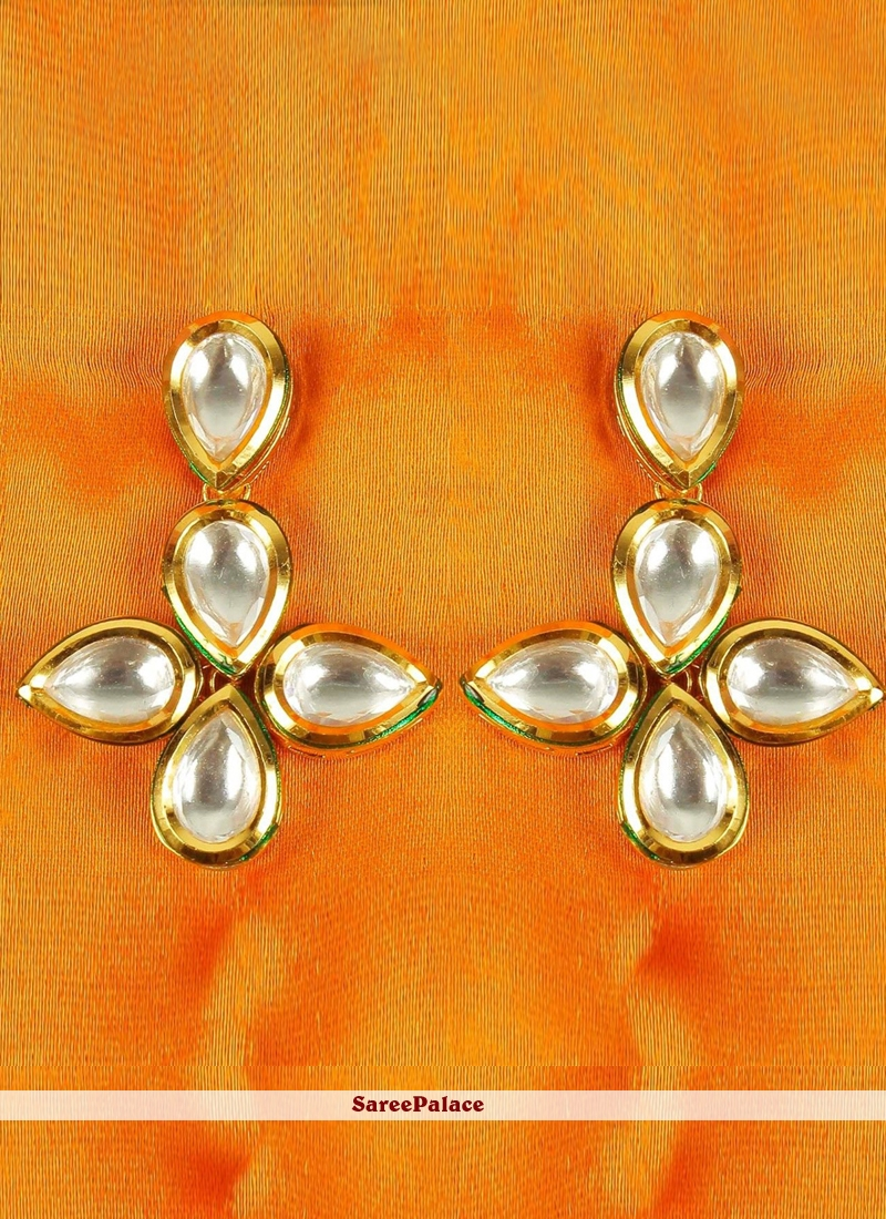 Gold Stone Reception Ear Rings