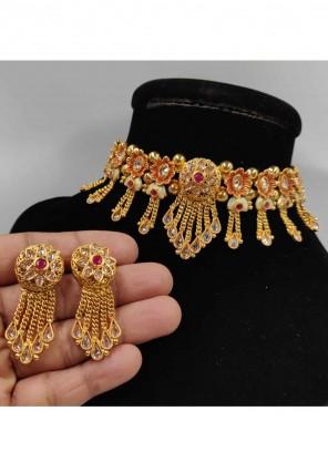 Gold Stone Sangeet Necklace Set