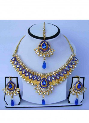 Gold Stone Wedding Necklace Set