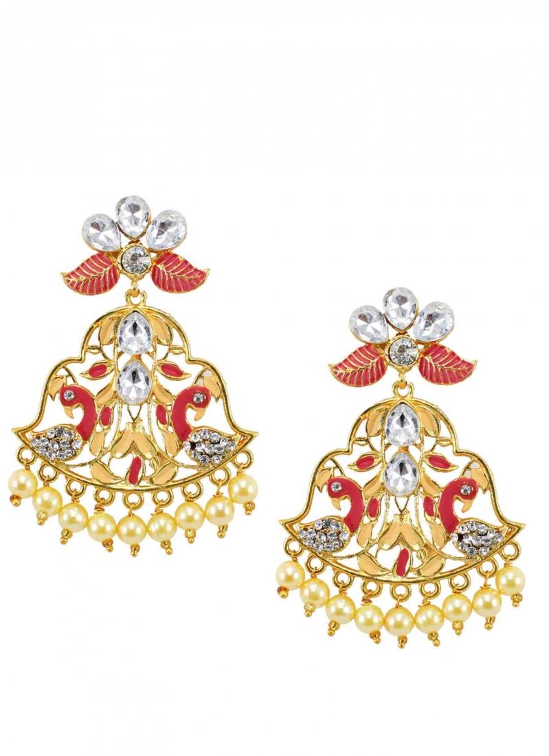 Gold Stone Work Ear Rings