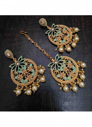 Gold Stone Work Engagement Ear Rings