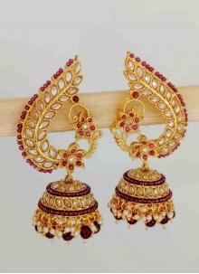 Gold Stone Work Festival Ear Rings