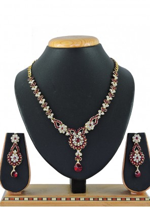Gold Stone Work Festival Necklace Set