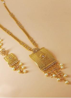 Gold Stone Work Festival Necklace Set