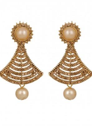 Gold Stone Work Mehndi Ear Rings