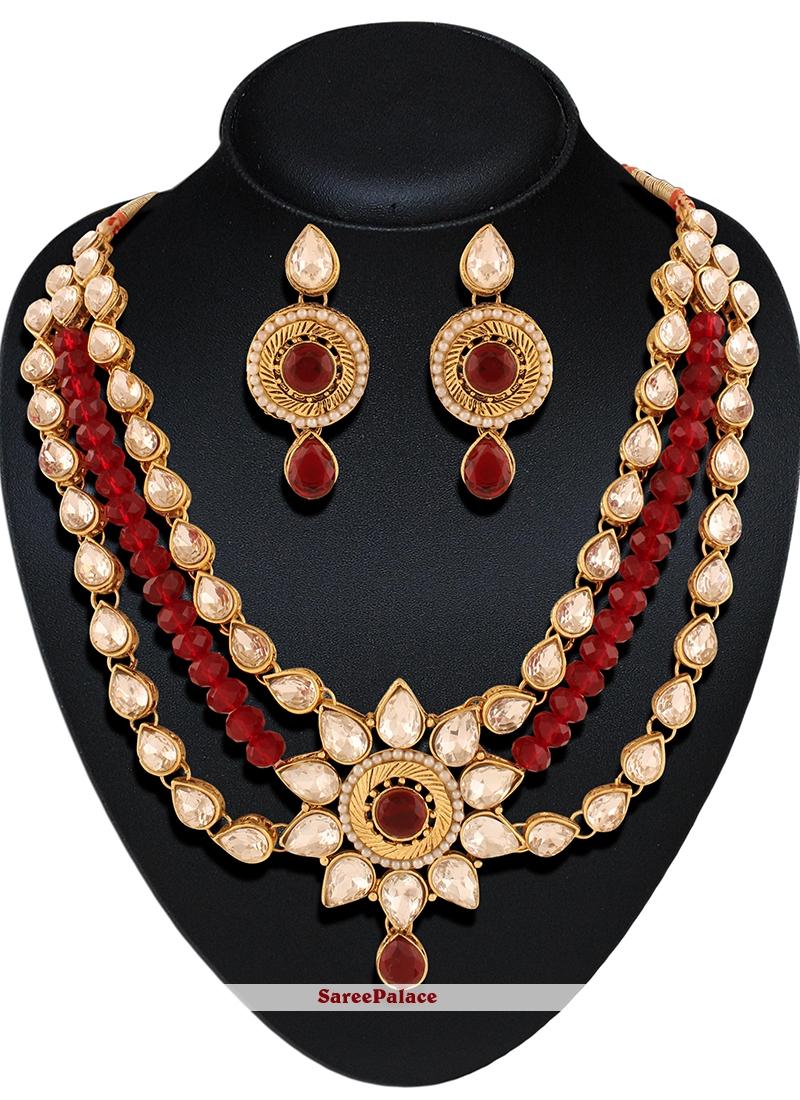 Buy Gold Stone Work Necklace Set Online