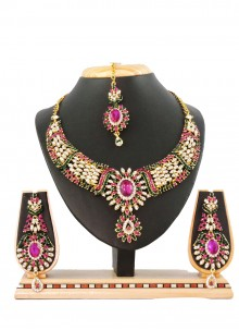 Gold Stone Work Necklace Set
