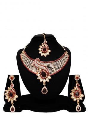 Gold Stone Work Necklace Set