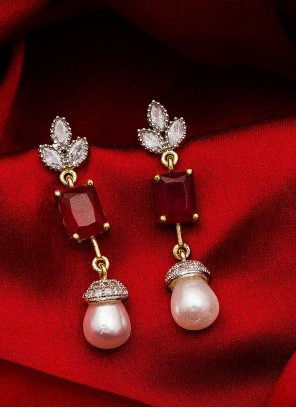 Gold Stone Work Party Ear Rings