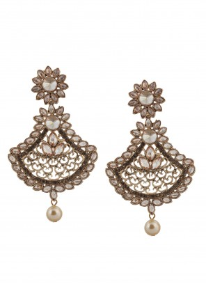 Gold Stone Work Reception Ear Rings