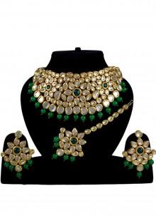 Gold Stone Work Reception Necklace Set