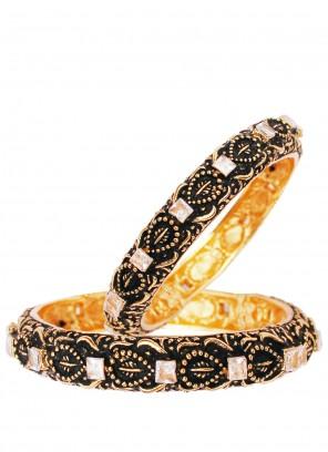 Gold Stone Work Sangeet Bangles