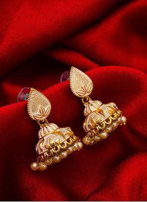 Gold Stone Work Sangeet Ear Rings
