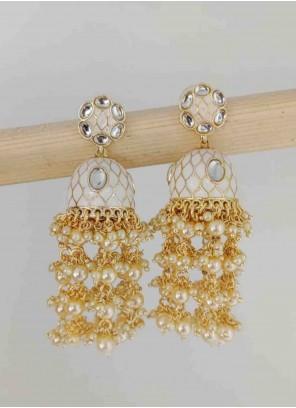 Gold Stone Work Wedding Ear Rings