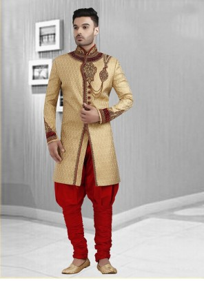 Gold Wedding Art Dupion Silk Sherwani