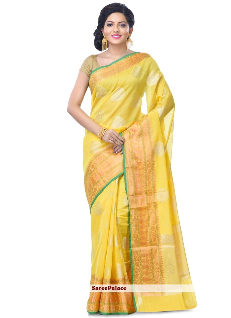 Gold Wedding Banarasi Silk Classic Designer Saree