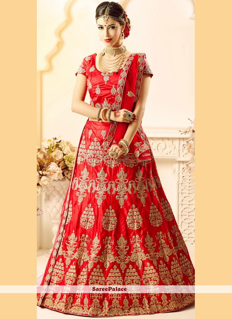 d2bbff3214 Buy Gorgonize Satin Silk Red Patch Border Work Lehenga Choli Online