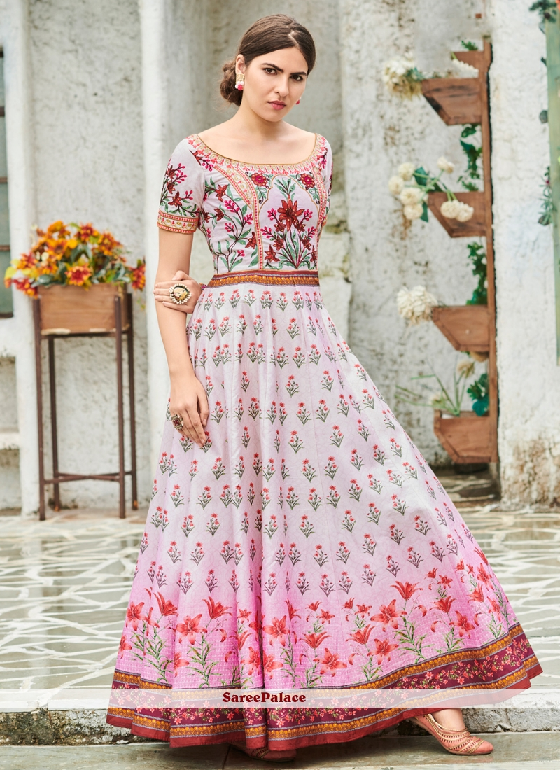 Gown Digital Print Silk in Multi Colour