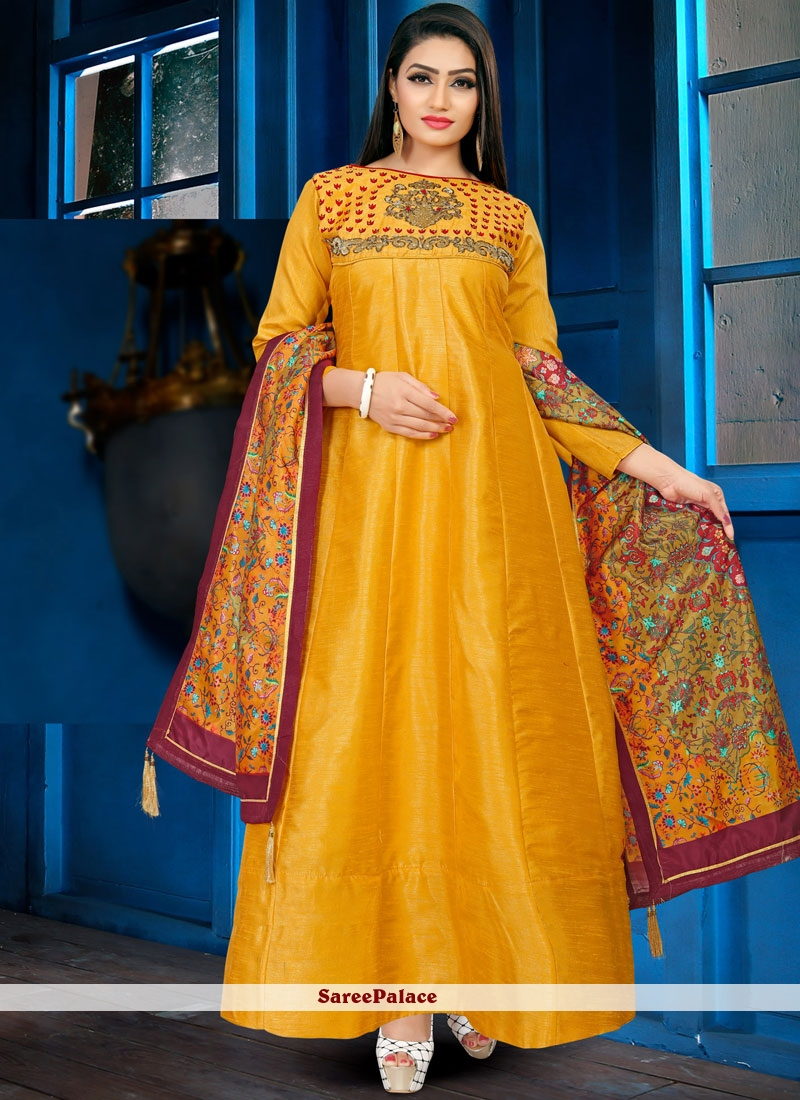 5fa2d87c8e Buy Gown Embroidered Banglori Silk in Yellow Online