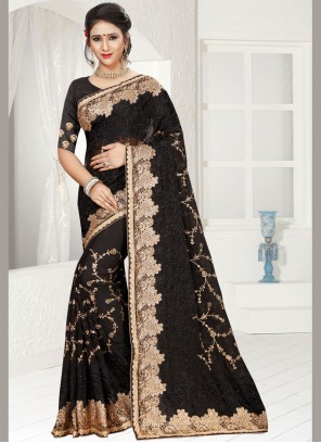 Graceful Black Faux Georgette Classic Designer Saree