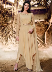 Grandiose Faux Georgette Beige Resham Work Designer Suit