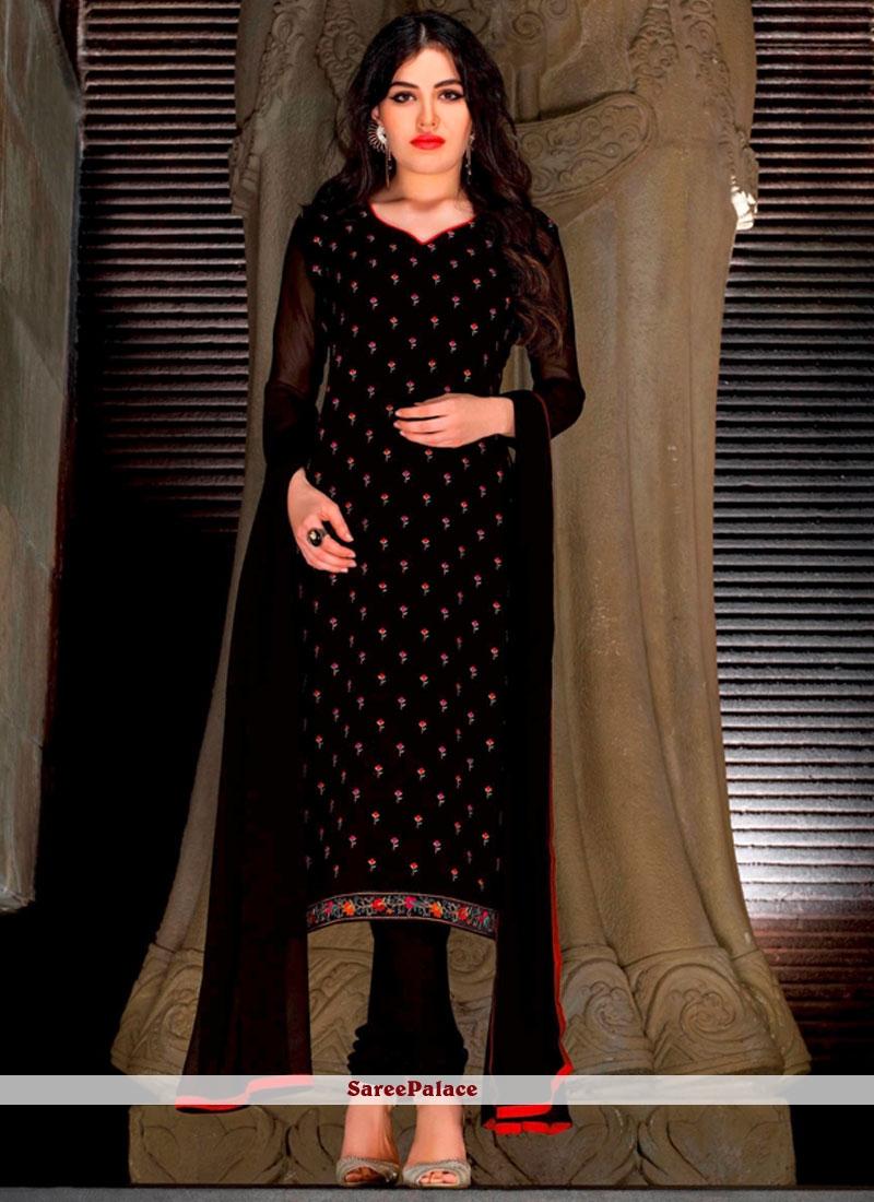 Grandiose Faux Georgette Black Trendy Churidar Suit