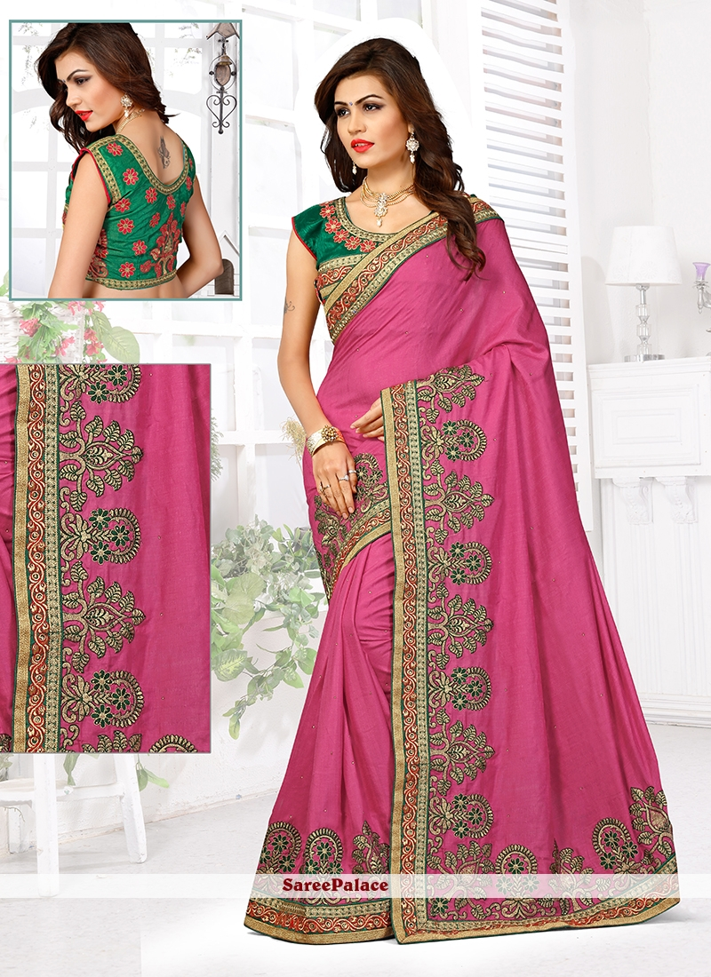 Grandiose Manipuri Silk Hot Pink Designer Traditional Saree