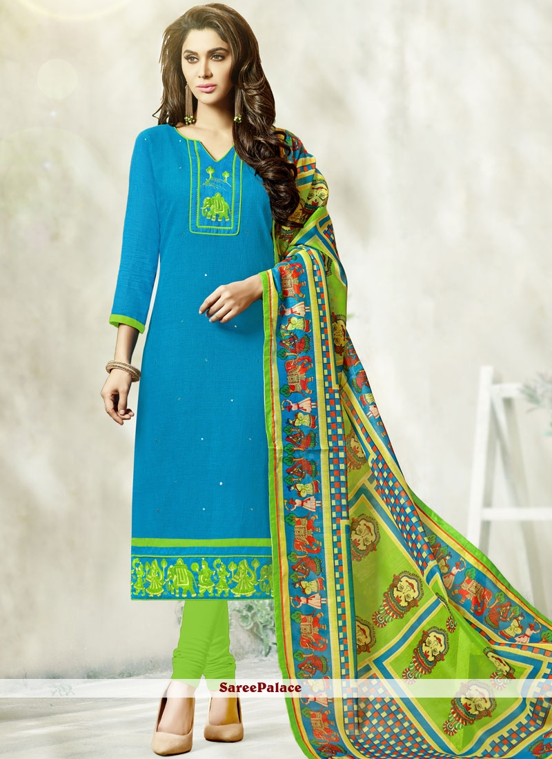 Buy Gratifying Blue Print Work Churidar Designer Suit Online