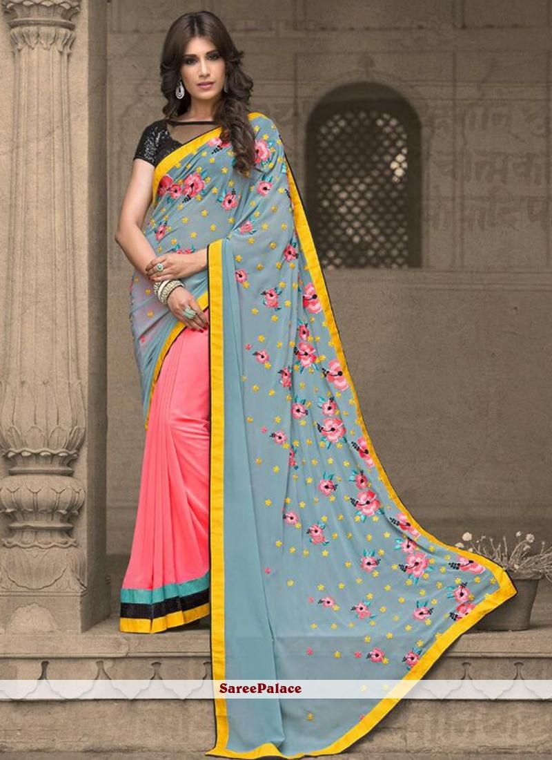 Gratifying Embroidered Work Georgette Designer Traditional Saree