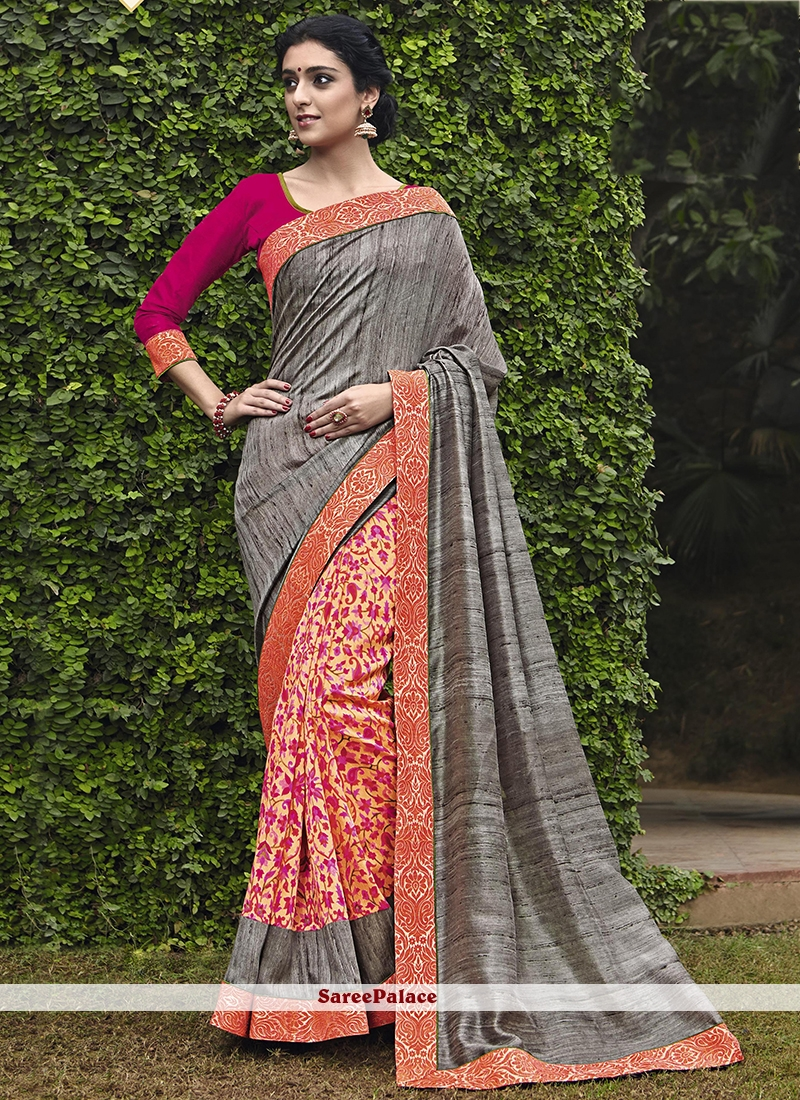 Gratifying Handloom silk Multi Colour Print Work Printed Saree