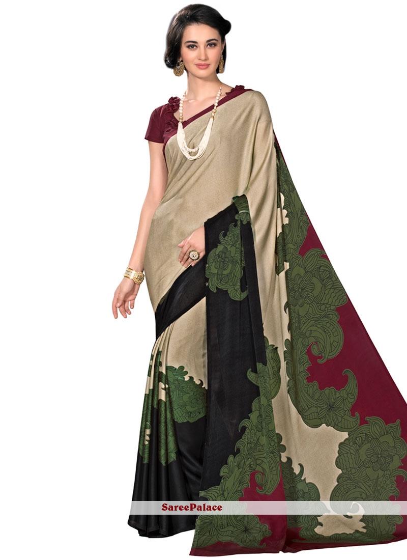 Gratifying Printed Saree For Casual