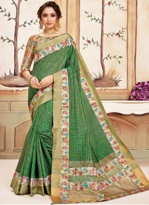 Green Abstract Print Classic Designer Saree