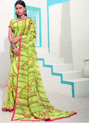 Green Abstract Print Faux Georgette Saree