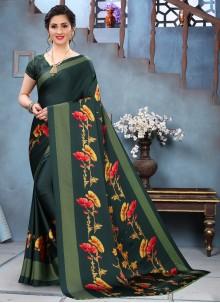 Green Abstract Printed Saree