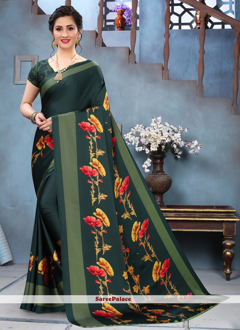 Green Abstract Printed Saree