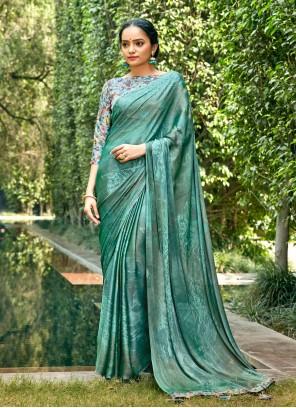 Green Abstract Print Printed Saree