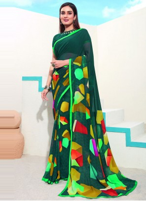 Green Faux Georgette Abstract Printed Saree