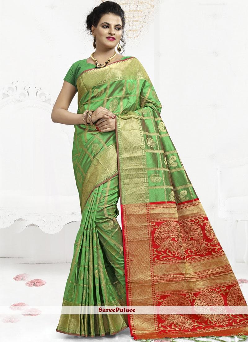 Green Abstract Print Sangeet Classic Saree