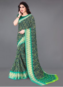Green and Grey Color Printed Saree
