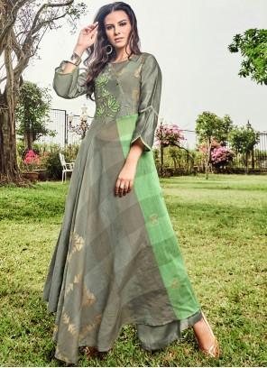 Green and Grey Fancy Fabric Print Party Wear Kurti